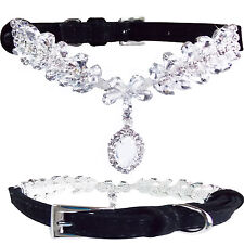 Luxury Small Black Suede Leather Bling w/ DIAMOND PENDANT Dog Puppy Collar