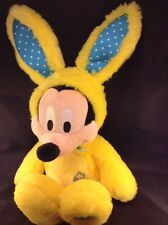 """Mickey Mouse Easter Bunny 17"""" Yellow Disney Store Patch Rabbit Marshmallow"""