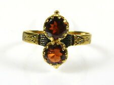 Victorian 14k Yellow Gold Sterling Silver Natural 1ctw Double Garnet Ring I055G