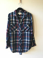 Anthropologie Red/Blue Cotton Plaid Botton Shirt Blouse By Cloth&Stone New Sz S