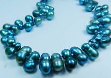 Odd-shaped Blue Akoya Cultured Pearl Beads Necklace 18""