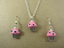 Silver Plated Enamel Cupcake Earrings & Necklace Set New in Gift Bag