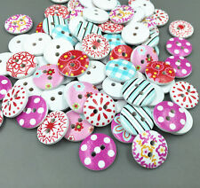 50 Mixed color Wooden Buttons  2-holes Sewing scrapbooking Dress Accessories15mm