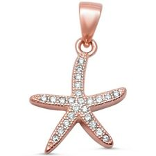 Rose Gold Plated Pave Cubic Ziconia Starfish .925 Sterling Silver Pendant