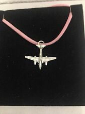 Me 262 C5 Fighter Aircraft Plane Pewter Pendant on a PINK CORD Necklace