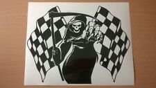 large grim reaper chequerd race flag car bonnet side vinyl sticker graphic decal