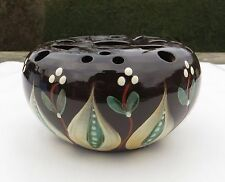 Yeo Pottery Posy Vase - Leaves & Berries Mistletoe? - Fishley Holland Influence