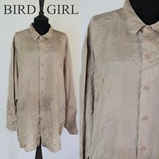 CANDA 1980S VINTAGE BROWN FLOATY SILK INDIE BOHO CHIC SHIRT XXL
