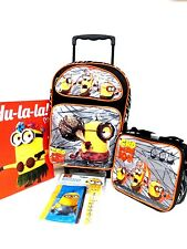 DESPICABLE ME 2 MINION GRU ROLLING BACKPACK,LUNCHBOX,PENCIL CASE,STATIONARY SET