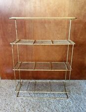 VINTAGE MID CENTURY GOLD MESH 4 TIER METAL WALL SHELF  STAND  RACK