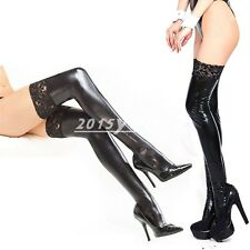 Lady Sexy Lace Top 85CM Shiny Stockings Hold Up's Faux Leather BDSM Fetish Black
