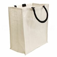 "White Burlap Shopping Bag - 16"" x 14"" x 8"" - Large Grocery Tote Purse Bag"
