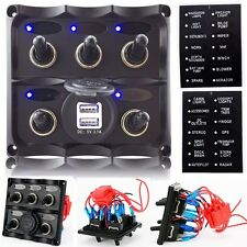 Marine Boat 5 Gang LED Toggle Switch Panel ON-OFF Digital Battery Voltmeter