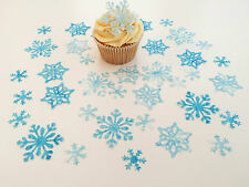 38 Edible Snow Queen Snowflake Collection Pre Cut Wafer Cupcake Toppers Novelty