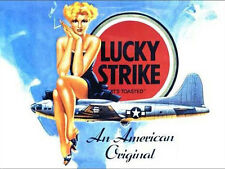 Lucky Strike Cigarettes, Pin-up Girl, B-17 WW2 US Aircraft, Large Metal/Tin Sign