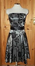 JANE NORMAN pewter silver grey black satin floral strapless party prom dress 10