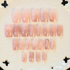 24 PCS Smooth Marble False Nails Long Square Full Designed Nails