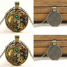 Chic Sell Vintage Compass watch Cabochon Bronze Glass Chain Pendant Necklace