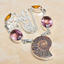 "Handmade Ammonite Nautilus Fossil 925 Sterling Silver Necklace 17.5"" #N00256"