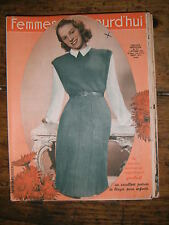 Femmes d'aujourd'hui N° 279 1950 Mode vintage 2  patrons Couture Broderie Robe