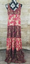 Ralph Lauren Denim & Supply Floral Paisley Lace Up Maxi Dress Boho Hippie Medium
