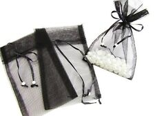 "100 Pearl Bead Organza Gift Bags 4x6"" Wedding Favors Pouch/Party PO-2 Black"