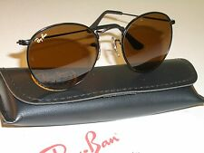 50MM VINTAGE B&L RAY BAN B15 BROWN DRIVING LENS BLACK ROUND AVIATORS SUNGLASSES