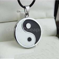 Yin Ying Yang Pendant Black White Necklace Charm with Black Leather Cord EFUS