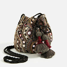 ZARA Beaded Bucket Bag with Tassels Crossbody Embellished Cotton Leather BNWT