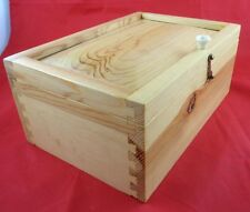 Raw Wood Tongue/Groove Box Secret Hidden Compartment Cash Hide Box Safe