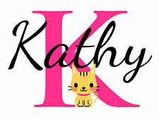 Personalized Cat Name Monogram Girls Room Vinyl Wall Decal Graphics Bedroom Home