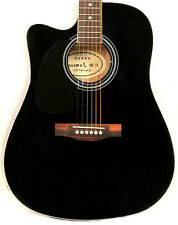 Left Handed Used Full Size Black Acoustic Electric Guitar Thinline Cutaway 2nd
