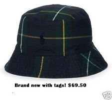 NWT $69.50 POLO-RALPH LAUREN Tartan Oilcloth Blackwatch Plaid Bucket Hat (L-XL)