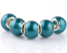 5pcs silver pearl Blue Hole spacer beads fit Charm European Bracelet DIY #F917