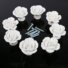 8pcs Vintage Ceramic Rose Flower Door Knob Drawer Cupboard Pull Handle White