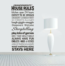 Grandparent House Rules wall stickers Decal Removable Art Vinyl Decor Home Kids