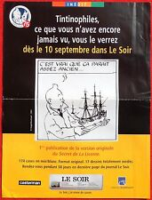 Tintin. AFFICHE journal LE SOIR : publication Secret de La Licorne. 2004