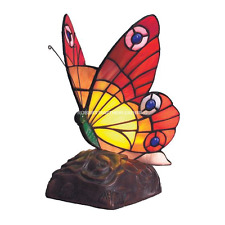 Large Red And Orange Tiffany Butterfly Table Lamp RM18 BF11