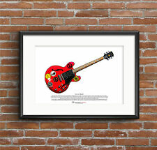 Alvin Lee's Gibson Es-335 Big Red Arte Cartel Tamaño A3