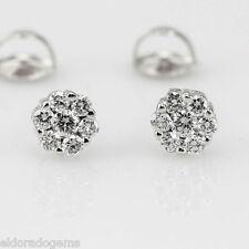 1.50 CT. VS2 ROUND BRILLIANT DIAMOND CLUSTER STUD SCREW EARRINGS 14K WHITE GOLD