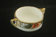 ORNATE GOLD NIPPON HAND PAINTED FLOWERS PORCELAIN OPEN SALT CELLAR DIP NUT DISH