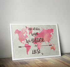 Watercolor world map, Lord of the Rings quote, Poster, A3 size 11.7 x 16.5 in