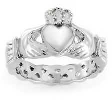 Elya Designs Stainless Steel Women's High Polished Heart Claddagh Fashion Ring