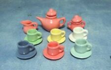 Dolls House Tea Set : Miniature Multi Coloured Tea Set  in 12th scale