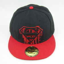 New DC Comics Red Black Adjustable Snapback Superman flat baseball Hat cap