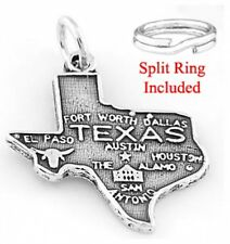 """STERLING SILVER """"STATE OF TEXAS"""" CHARM W/ SPLIT RING"""