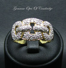 9ct Gold 0.5ct Diamond Encrusted Pave Knotted Chain Style Ring Size R 1/2 4.1g