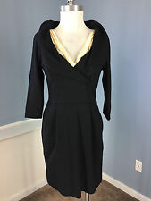 BCBG Max Azria 6 8 Black Cocktail Career Dress Excellent Sheath 3/4 sleeve