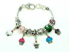 Silver Toned Charm Bracelet With Multi Color Cupcake Charms