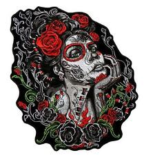 Sugar Skull roses 6 inch iron on MC BIKER PATCH